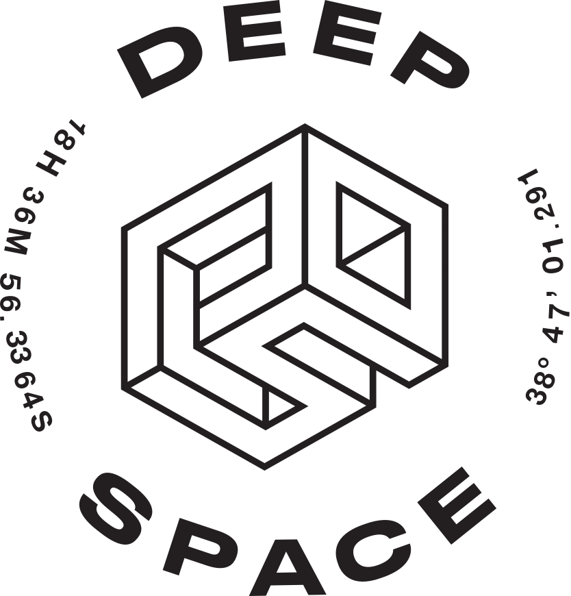Deep Space logo with brand name and navigation coordinates